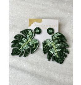 Beaded Palm Leaf Earring