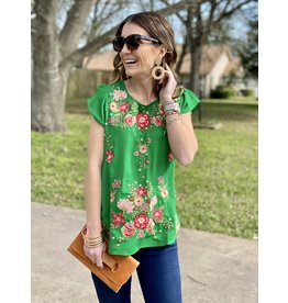 Kelly Green Cap Sleeve Embroidered Top