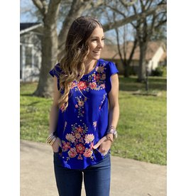 Royal Blue Cap Sleeve Embroidered Top
