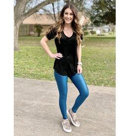 Faux Leather Jillian Teal Leggings