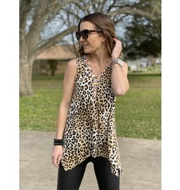 Leopard Embroidered Sleeveless High/Low Top