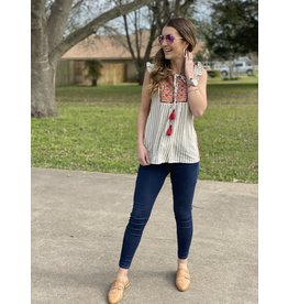 Grey & White Striped Embroidered Top w/Flutter