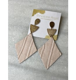 Blush Leather Earring w/Gold Post