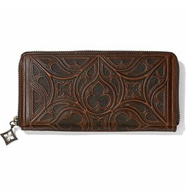 BRIGHTON FERRARA TOSCANA ZIP WALLET- SADDLE