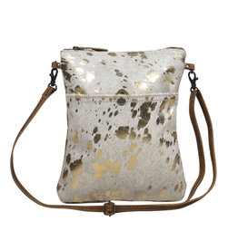 Metallic Gold Speckled Leather Crossbody