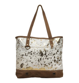 Metallic Gold Hair On Leather Tote Bag