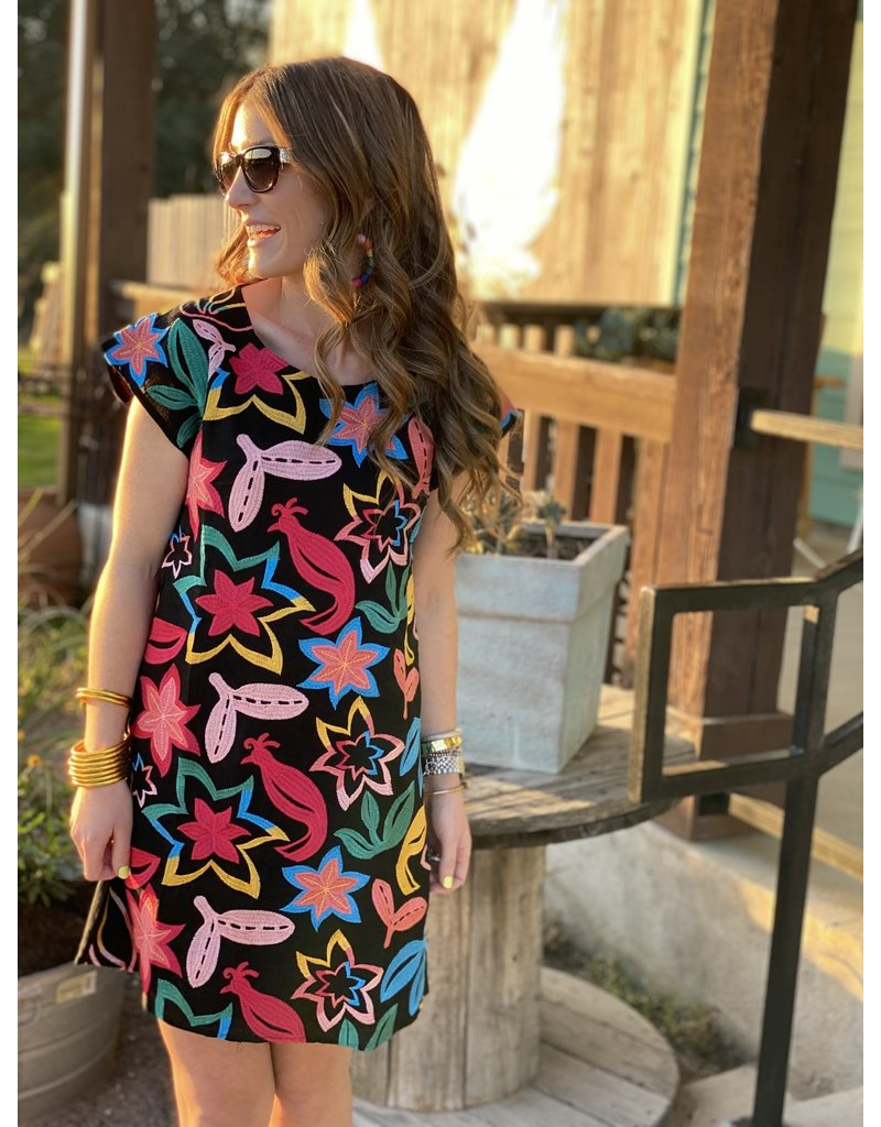 Black Full-On Bright Embroidered Dress
