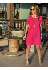 Short Sleeve Scallop Dress Hot Pink