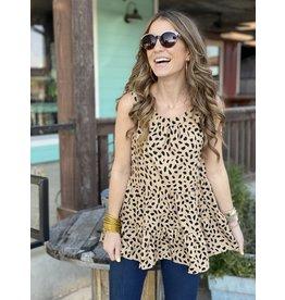 Leopard Print Layered Ruffle Top