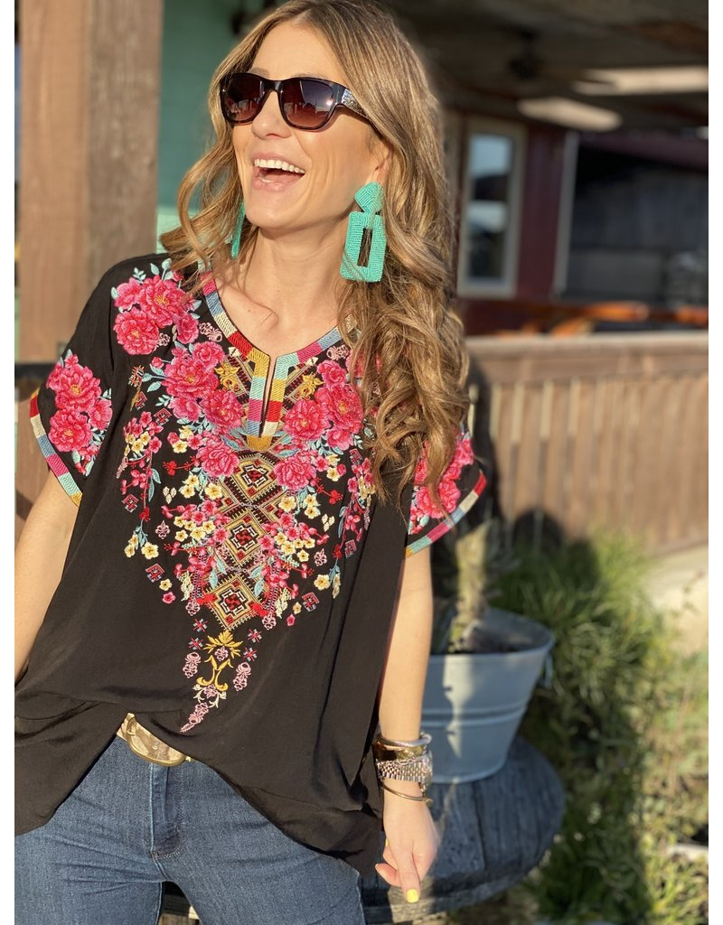 Short Sleeve Black Embroidered + Top