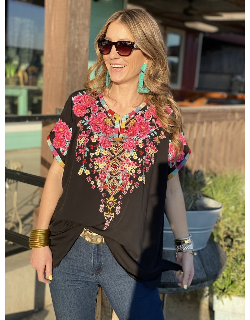 Short Sleeve Black Embroidered Top