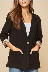 Black + Blazer w/Leopard Cuff Detail