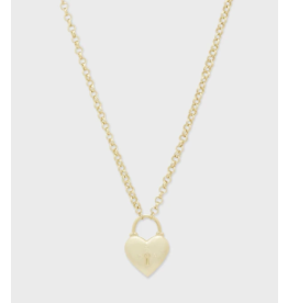Gorjana Kara Heart Padlock Necklace Gold