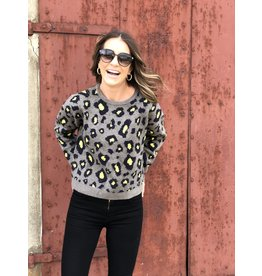 Olive Leopard w/Neon Yellow Center Sweater