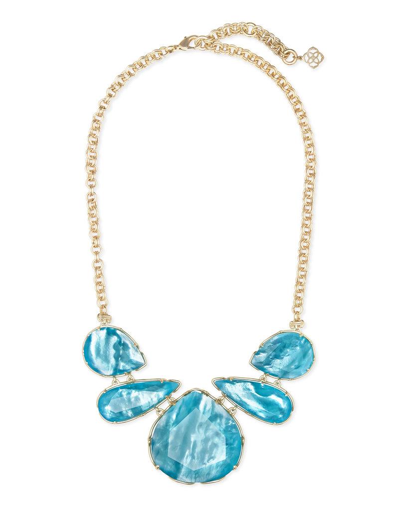 Kendra Scott Kenzie Statement Necklace Aqua Illusion on Gold