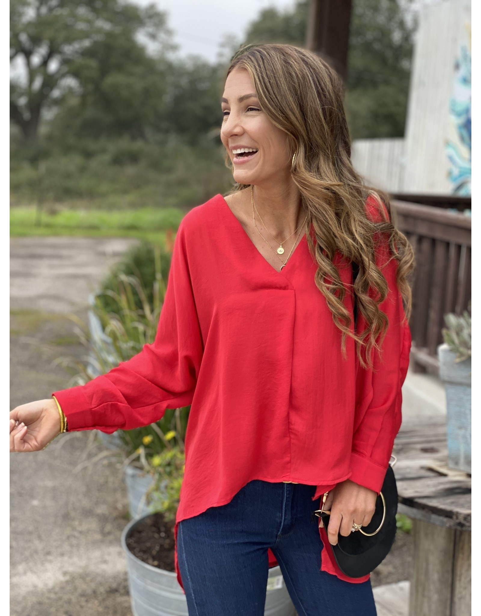Red Blouse 3/4 Sleeve High/Low
