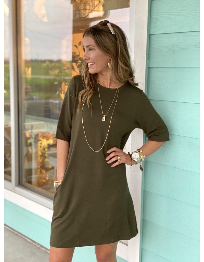 Knit Short Sleeve Dress w/ Pockets -- Olive