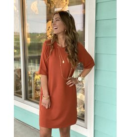 Knit Short Sleeve Dress w/ Pockets -- Rust