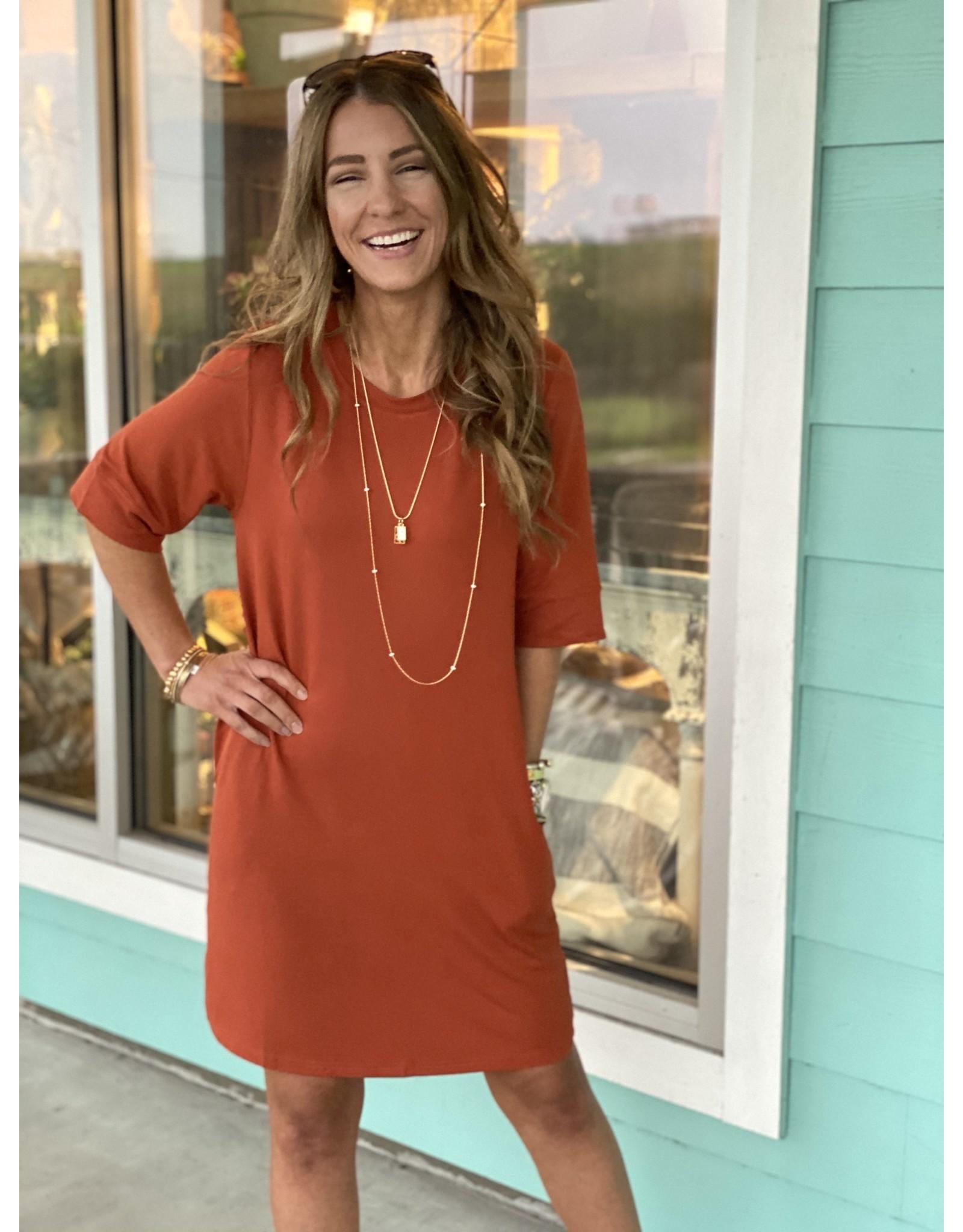 Knit Short Sleeve Dress w/ Pockets -- Rust