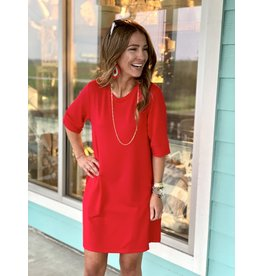 Knit Short Sleeve Dress w/ Pockets -- Red