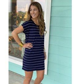 Striped T-Shirt Knit Dress -- Navy / White