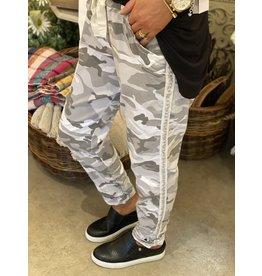 White Camo Pant w/Silver Stud Stripe Side