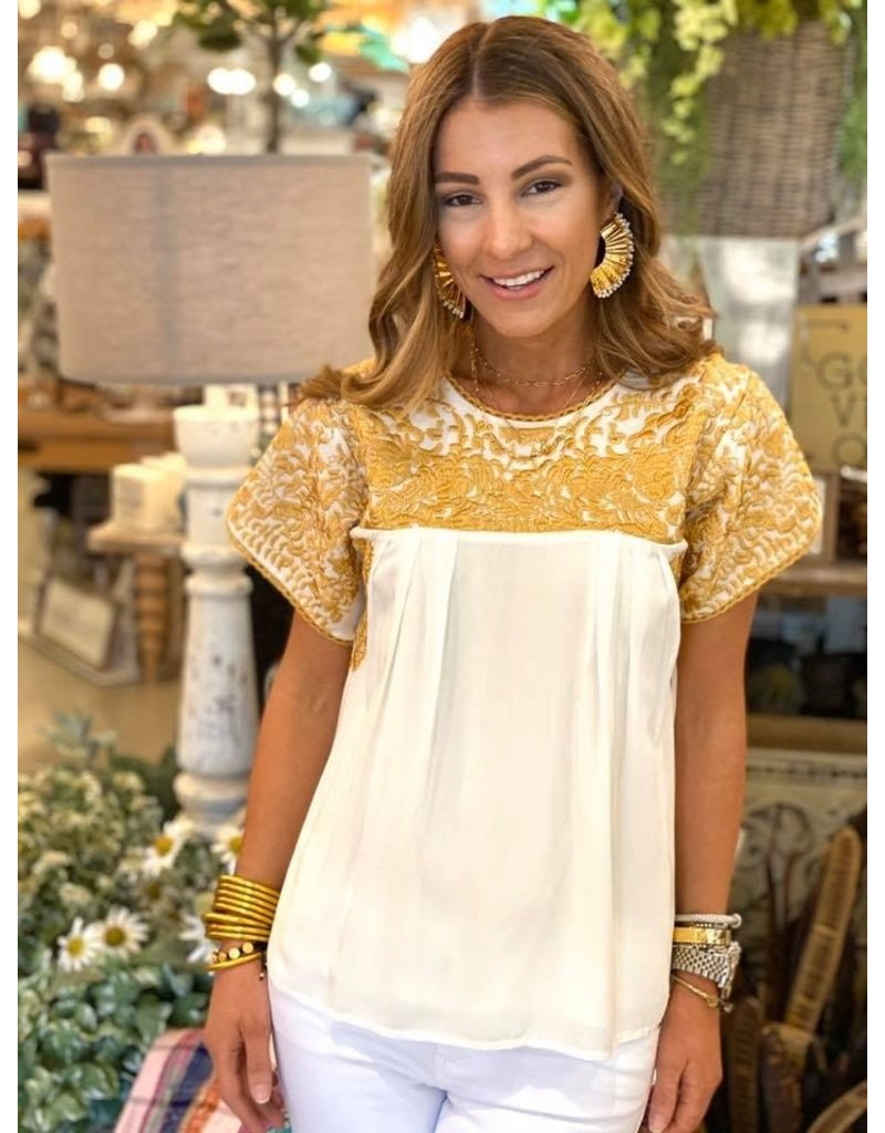Buddy Love Cream w/Gold Embroidery Top