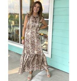 Tan Snake Print Maxi Dress