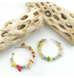Treasure Jewels Reef Multi Color Stone Hoops