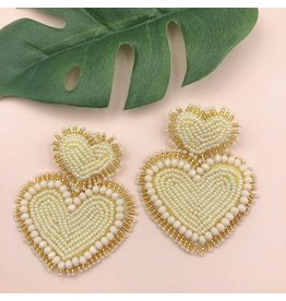 Treasure Jewels Beaded Heart Nude Earrings