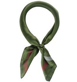 Olive w/Rust & Ivory Border Stripe Neckerchief