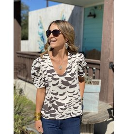 Coffee Abstract Print V-Neck Pleated Sleeve