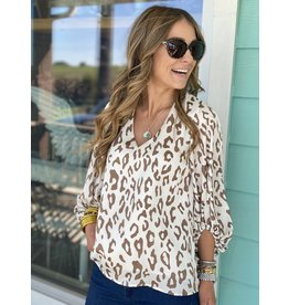 Leopard Print V-Neck Mushroom/Cream Long Sleeve