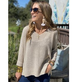 Crew Neck Open Weave Sweater in Natural