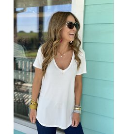 Another Love Valentina VNeck Tee in White