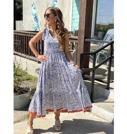 Blue & White Print Flutter Maxi Dress