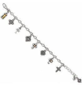 Brighton 2-Tone Eternity Cross Charm Bracelet