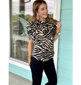 Black Tiger Print Tie Neck Detail Top
