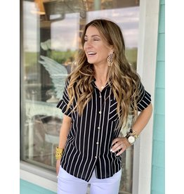 Black w/White Stripe Button Down Top