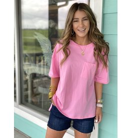 Neon Pink Short Sleeve Top w/Pocket