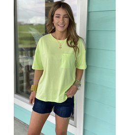 Neon Lime Short Sleeve Top w/Pocket