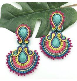 Treasure Jewels Abanico Turquoise Earrings