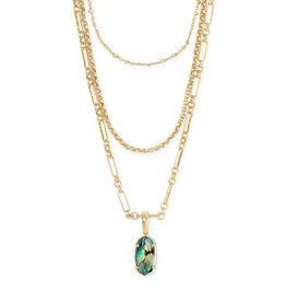 Kendra Scott Elisa Triple Strand Necklace Abalone on Gold