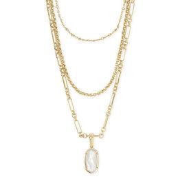 Kendra Scott Elisa Triple Strand Gold Ivory Pearl