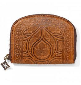 Brighton Cognac Mini Embosed Zip Wallet
