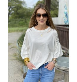 Pearl & Stud Detail Angel Sleeve Top White