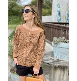 Leopard Print 3/4 Length Top