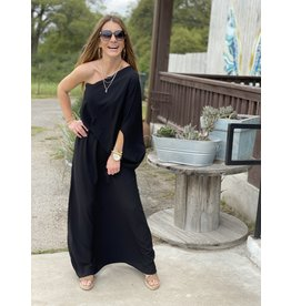 Black Textured Solid Slouchy One Shoulder Maxi