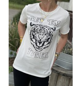 Get Em Tiger Graphic Tee in White