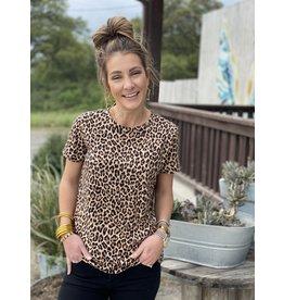 Leopard Print Round Neck Tee